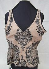TRACY REESE Sleeveless Tank Top Black Embroidered Floral Detail 10 New No Tags