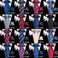 USA Burgundy Red Striped Floral Mens Tie Set Silk Necktie Wedding Jacquard Woven