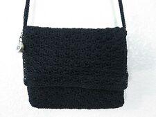 "The Sak Small Black Crocheted Shoulder Crossbody Purse w/Flap 7""x 6.5"" 24"" Strap"
