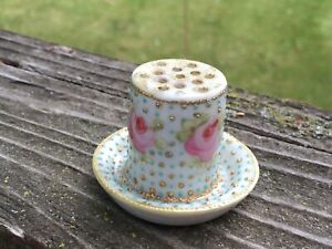 Antique Hand Painted Stick Hat Pin Holder Pink Roses