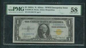 1935 A   Fr# 2306  $1 dollar   North  Africa - WW II  Emergency Issue    PMG 58