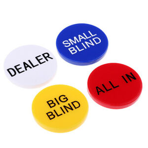 Dealer Buttons Set - Texas Holdem Little Big Blind All in Chip Casino Props
