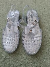 Brand New Silver Jelly Shoes Size 6