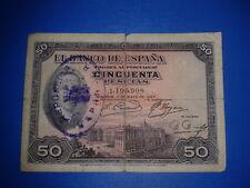 SPAIN BILLETE 50 PESETAS REPUBLICA 1927 CIRCULADO CON RESELLO SIN SERIE 1190908