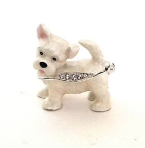 Feisty Westie Pewter Bejeweled Hinged Miniature Trinket Box Kingspoint