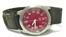 Vintage Swiss Army Men's Watch Red Face FULL BLACK VELCRO BAND SYBOLL