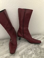 Prada Red Leather Mid Calf Kitten Heel Boots Size 39
