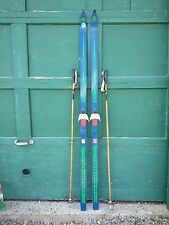 "ANTIQUE Wooden 74"" Long HICKORY Skis + Bindings Blue Green Finish + Bamboo Poles"