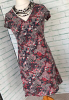 MANTARAY Grey Scandi Print Summer Dress Sz 12 UK Pull On Style / b35