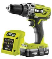 Ryobi R18PD3 18V Cordless 1.3A 18V Brushed Percussion Drill W Battery & Charger