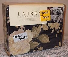 Ralph Lauren Winter Rose Floral QUEEN / FULL Duvet Cotton Comforter Cover Black