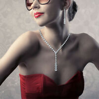 Stylish Wedding Bridal Rhinestone Crystal Necklace Drop Earrings New Jewelry Set