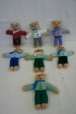 """HAND KNITTED TOYS Job Lot Of Bears - Different Colour Outfits - Approx 10"""" Tall"""
