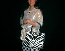"KATE SPADE QUINN ""IVORY LANE"" LARGE QUINN ZEBRA PATENT LEATHER ANIMAL BLACK/WHTE"