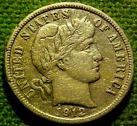 1912-D BARBER Dime 10 Cents 10c ~ VERY NICE HIGHER GRADE DENVER MINT COIN  41GA