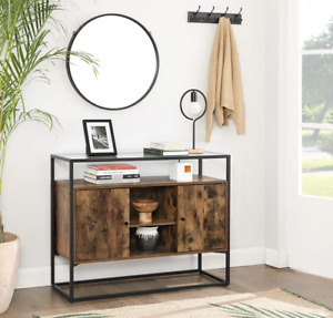 Industrial Vintage Sideboard Rustic Metal Unit Hall Glass Cabinet Console Table