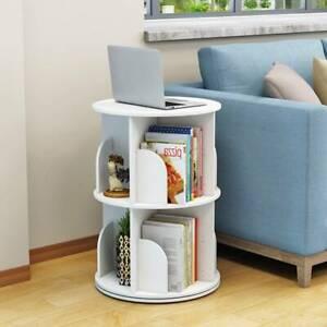 3 Tiers White 3-Shelving Bookshelf Revolving Bookcase Organizer Cabinet Rack