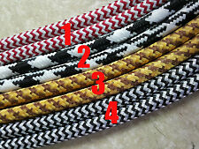 8 feet round 240cm Covered Cotton Antique Wire Vintage light cord Fabric Cable