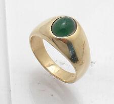 Sz 9 Genuine Green Onyx Gemstone Crown Ring REAL 14K Yellow Gold QVC