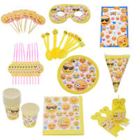 Emoji Face Smiley Party Kids Birthday Tableware Plates Cups Napkins Decoration