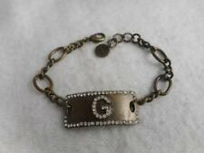 """SWEET LOLA ANTIQUE BRONZE & CRYSTAL INITIAL """"G"""" TAG & CHAIN ID BRACELET"""