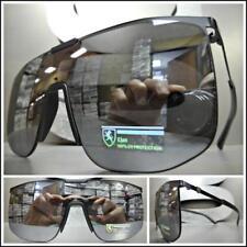 RETRO SHIELD Style Party Rave Club DJ SUN GLASSES Black Frame Flat Mirrored Lens