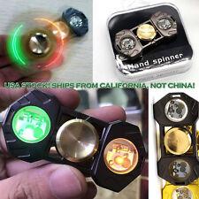 NEWEST Brass Hand Spinner Fidget LED Light EDC Finger Gyro Desk Focus Toy BLACK