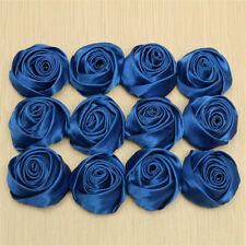 12pcs Royal Blue Satin Ribbon Rose Flower DIY Wedding Bouquet Appliques Decor
