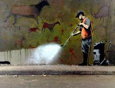 Banksy cave 8X12 canvas print street art graffiti reproduction poster