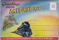 Railroad Route Map Midwest Hwy 2 Foldout Postcard CM ST P P Jewel Huwe SD ND MT