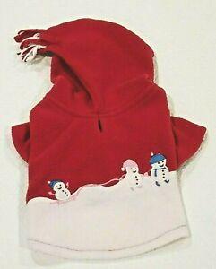 Dog/Pet Fleecey Winter Hoodie w/Embroidered Snowmen and Tassle Hood Size XS