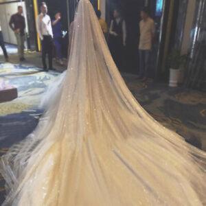 1 Tier Sparkle Veil *Glitter Veil*Cut Edge*Cathedral veil* Chapel veil with comb