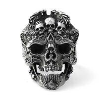Herren Totenkopf Ring Edelstahl - Skull morbide Biker RockerGothic 316L 8-13