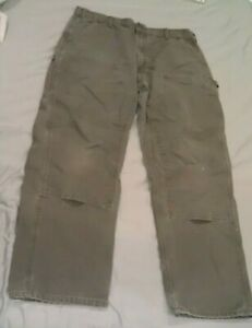 Carhartt Double Knee Front Dungaree Fit Canvas Work Pants B136/138 Mens 38x32