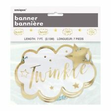 White & Gold Twinkle Twinkle Little Star Cloud Party Banner Bunting Garland