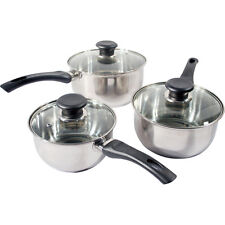 NEW 3PC PRIMA STAINLESS STEEL COOKWARE SAUCEPAN PAN POT SET KITCHEN MILK COOK