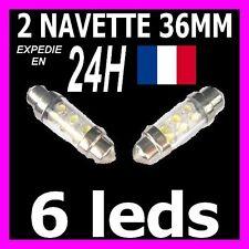 2 AMPOULE LAMPE NAVETTE A 6 LED 36MM C5W PLAFONNIER PLAQUE COFFRE leds xenon 12V