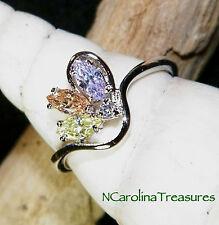 BEAUTIFUL 9K WHITE GOLD FILLED RING COLORED MARQUISE CUBIC ZIRCONIAS SIZE 6.75