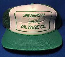 Vintage UNIVERSAL SALVAGE Co. Mesh Trucker Hat Cap Snapback - Green Recycle