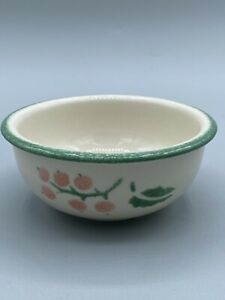 Pentik Finland Small Bowl with Light Orange Berries And Green Trim Rare Pattern