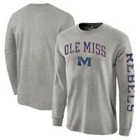 Ole Miss Rebels Heathered Gray Distressed Arch Over Logo Long Sleeve Hit T-Shirt