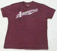 Aeropostale Burgundy Red & White Short Sleeve Crewneck Tee T-Shirt Top XL J11