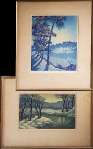 Pair Arts & Crafts Leslie Thompson Landscape Signed and Titled Framed Etchings
