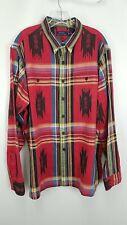 Ralph Lauren Polo Red Cotton Southwestern Long Sleeve Shirt Sz XXL