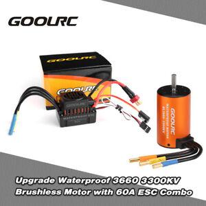 GoolRC 3660 3300KV Brushless Motor+60A ESC Combo Set for 1/10 RC Car Truck X3S2