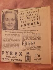 Pyrex Tooth Powder 1936 Advertisement