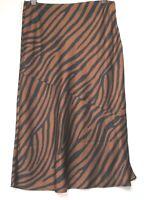 Next Brown Animal Print Slip Midi Work Office Skirt - Size 6  - 18