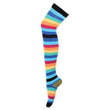 Bonjour Womens Multicolour Knee High Socks with stripe pattern_BRO594