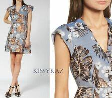 PAUL JOE SISTER Denim Blue Floral Jacquard SOLAIRE Designer Dress 36 8 BNWT €189
