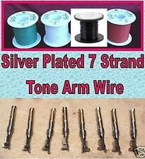 4 Colour Tone Arm / Tonearm Rewire Silver-Plated Teflon 4 Metre Kit inc. Tags